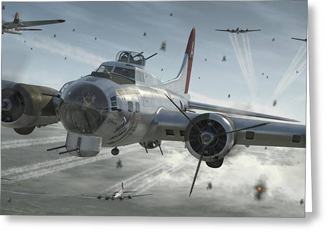 B-17g Hikin' For Home Greeting Card by Robert Perry