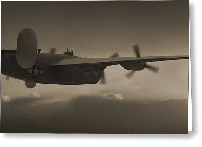 B - 24 Into The Sun Panoramic Greeting Card by Mike McGlothlen