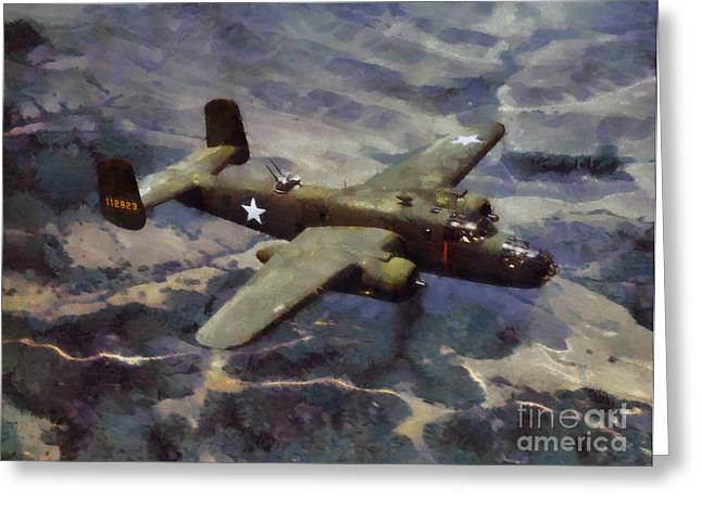 Greeting Card featuring the painting B-25 Bomber by Kai Saarto