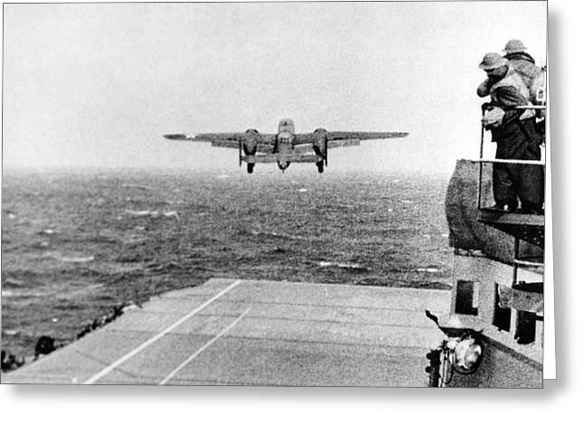 B-25 Bomber Taking Off During Wwii Greeting Card by Us Air Force