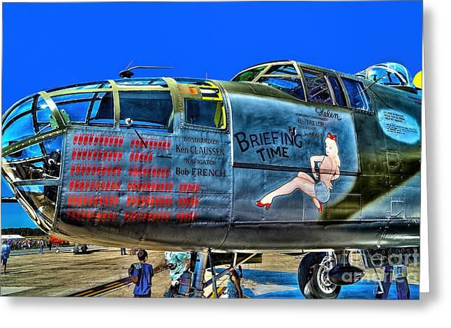 B-25 Briefing Time Greeting Card by Nick Zelinsky