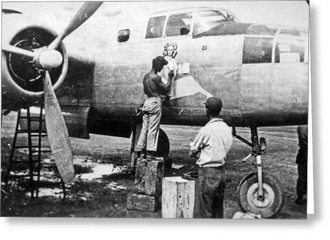 B-25 Pinup Nose Art Greeting Card by Underwood Archives