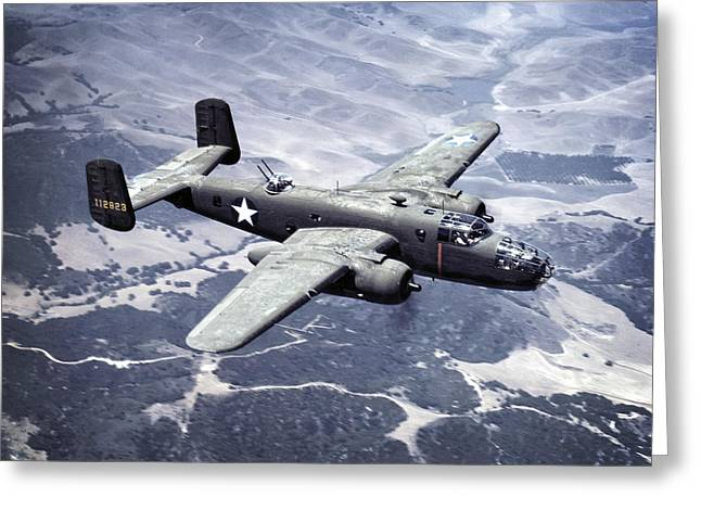 B-25 World War II Era Bomber - 1942 Greeting Card by Daniel Hagerman