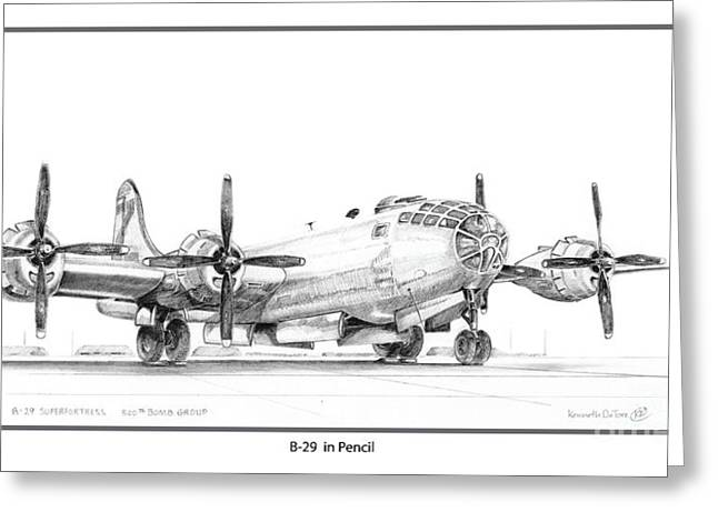 B-29 Greeting Card by Kenneth De Tore