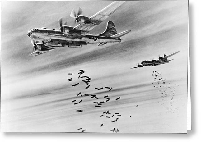 B-29s Bombing Burma Greeting Card by Underwood Archives