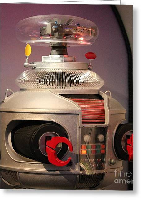 Greeting Card featuring the photograph B-9 Robot From Lost In Space by Cynthia Snyder