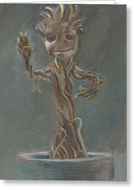 B And G Is For Baby Groot Greeting Card by Jessmyne Stephenson