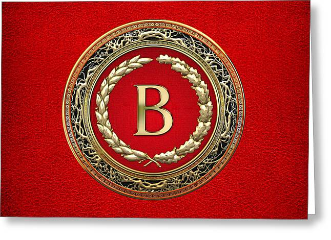 B - Gold Vintage Monogram On Red Leather Greeting Card