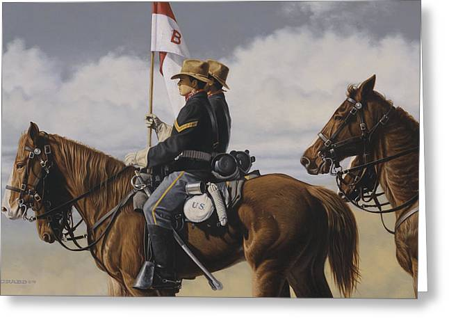 Greeting Card featuring the painting B Troop by Ron Crabb