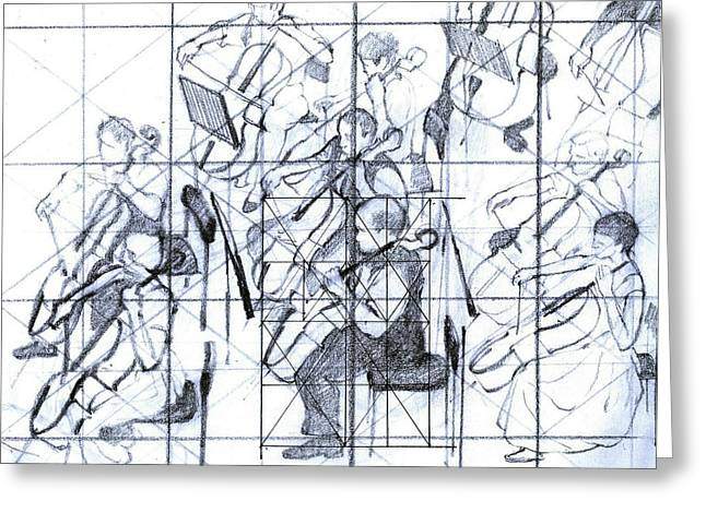B01. Producing A Large Composition On Canvas - Initial Layout Greeting Card