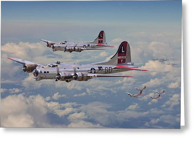 B17- 381st Bomb Group En-route Greeting Card by Pat Speirs