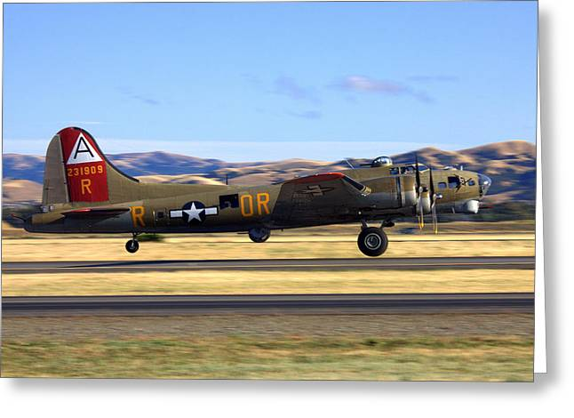 B17 Flying Fortress Departs Livermore Klvk Greeting Card
