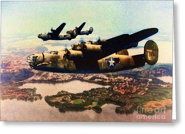 B24 Liberators Over Germany By Shawna Mac Greeting Card by Shawna Mac