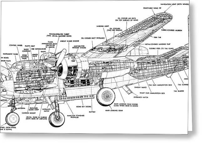 B25 Mitchell Schematic Diagram Greeting Card