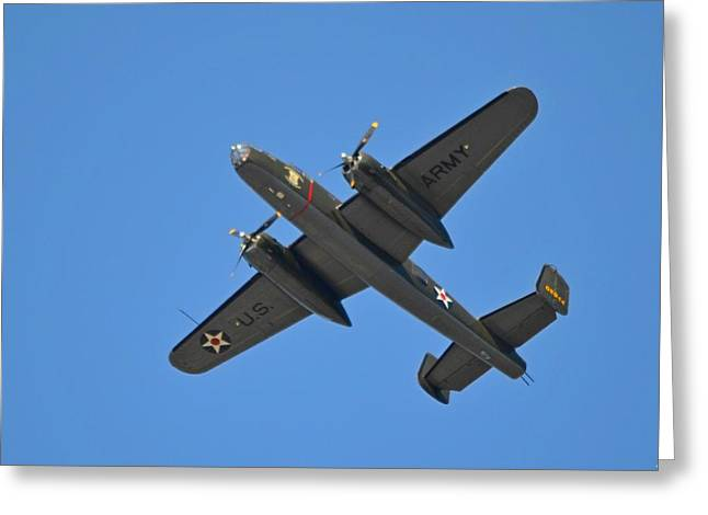 B25 Mitchell Wwii Bomber On 70th Anniversary Of Doolittle Raid Over Florida 21 April 2013 Greeting Card