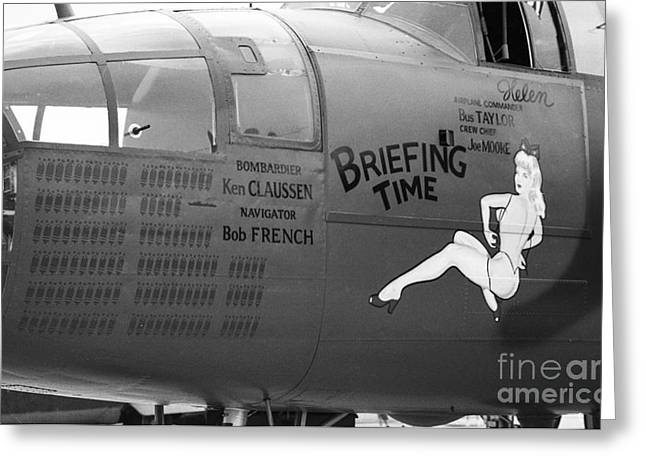 B25j Mitchell Briefing Time Bw Greeting Card
