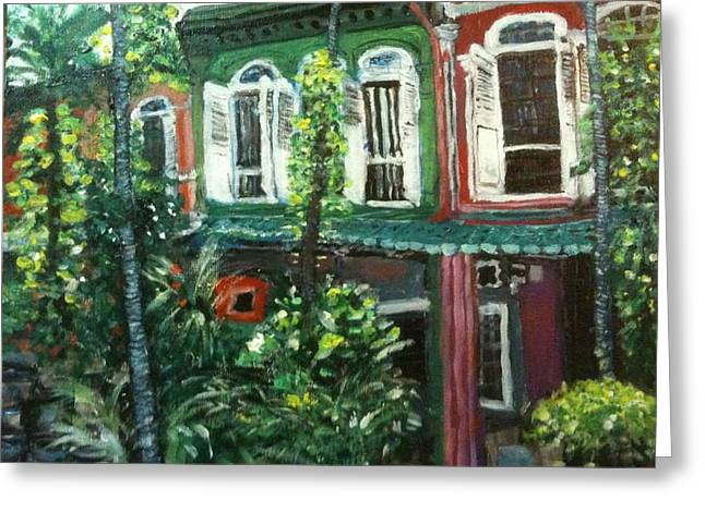 Greeting Card featuring the painting Baba Nonya House by Belinda Low