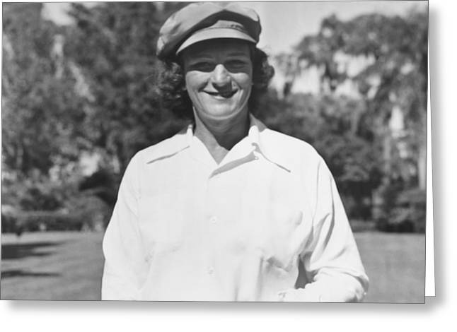 Babe Didrikson Portrait Greeting Card by Underwood Archives