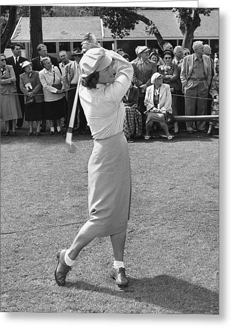 Babe Didrikson Teeing Off Greeting Card