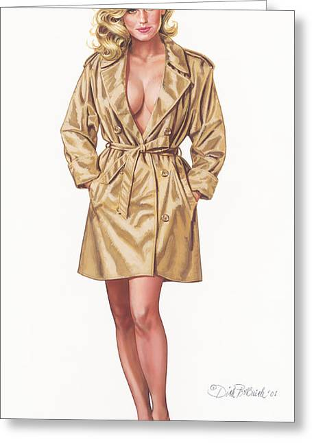 Babe In Trenchcoat Greeting Card