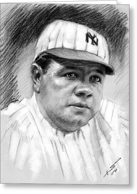 Babe Ruth Greeting Card by Viola El
