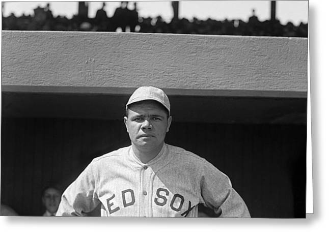 Babe Ruth In Red Sox Uniform Greeting Card by Underwood Archives