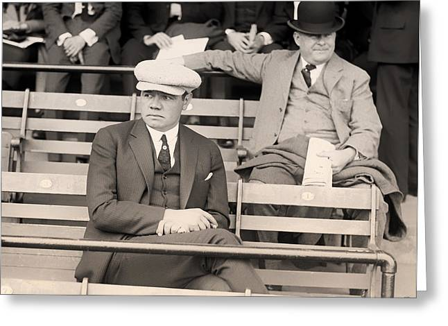Babe Ruth In The Stands At Griffith Stadium 1922 Greeting Card by Mountain Dreams