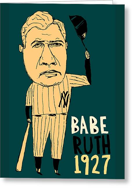 Babe Ruth New York Yankees Greeting Card by Jay Perkins