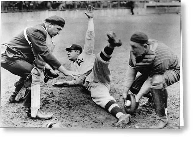 Babe Ruth Slides Home Greeting Card by Underwood Archives