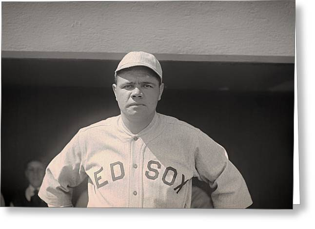 Babe Ruth With The Sox Greeting Card