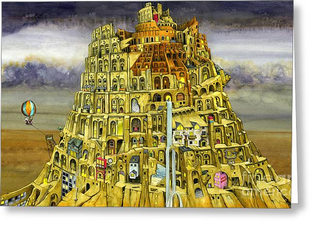 Babel Greeting Card by Colin Thompson