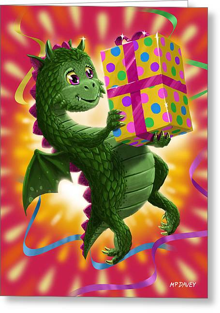 Baby Birthday Dragon With Present Greeting Card by Martin Davey