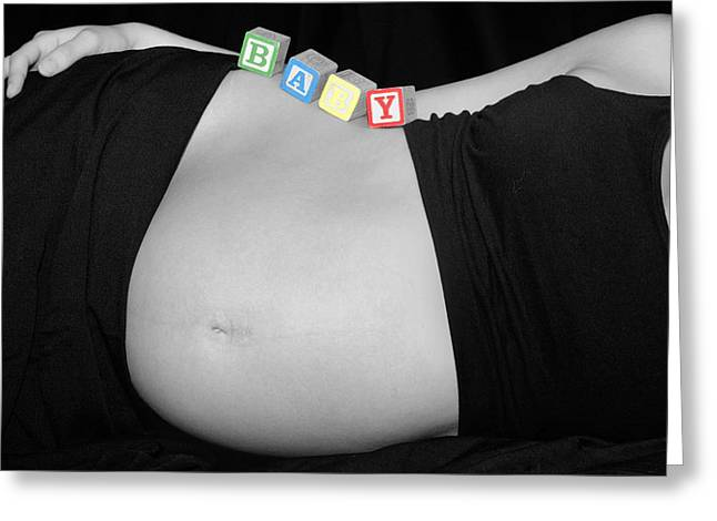 Baby Blocks Black And White Ctt Greeting Card by Melissa Kimball