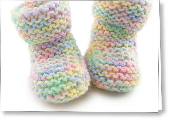 Baby Booties In Multi Coloured Yard Greeting Card by Colin and Linda McKie