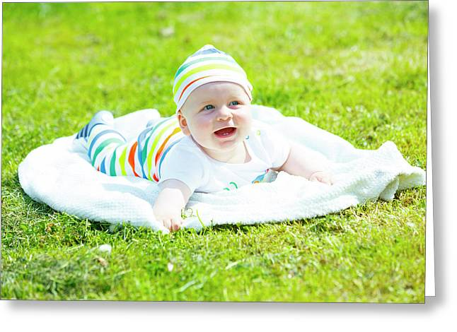 Baby Boy In A Park Greeting Card by Wladimir Bulgar