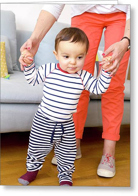 Baby Boy Learning To Walk Greeting Card by Aj Photo
