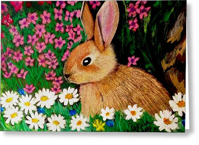 Baby Bunny In The Garden At Night Greeting Card by Renee Michelle Wenker