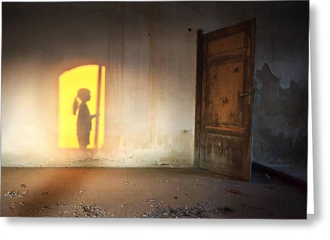 Baby Do Not Open That Door Greeting Card by Alfio Finocchiaro