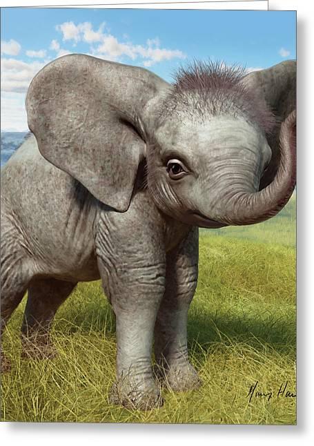 Baby Elephant Greeting Card by Gary Hanna