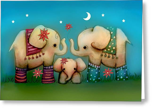 Baby Elephant Greeting Card by Karin Taylor