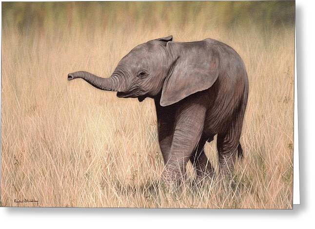 Elephant Calf Painting Greeting Card