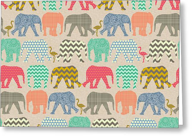 Baby Elephants And Flamingos Linen Greeting Card by Sharon Turner