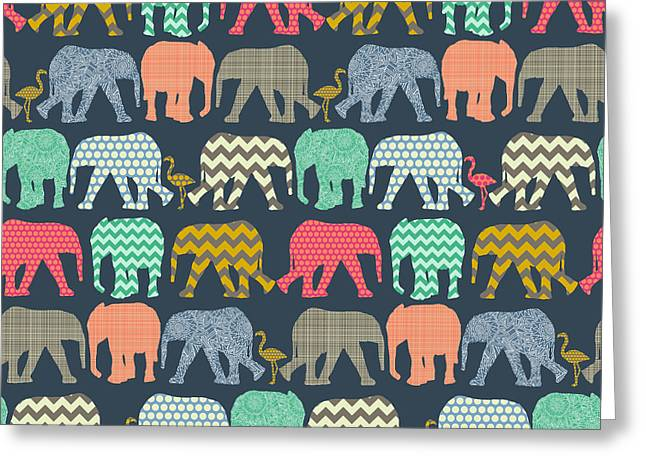 Baby Elephants And Flamingos Greeting Card by Sharon Turner