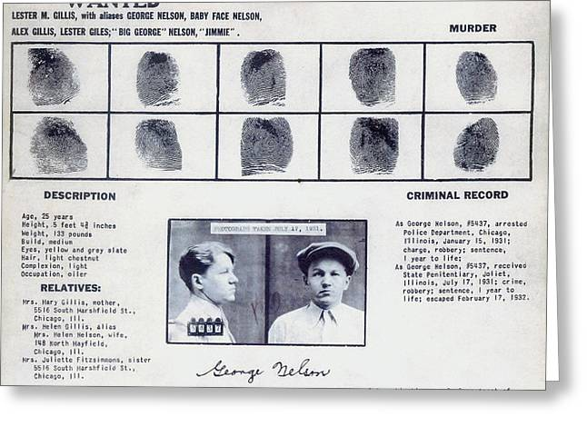 Baby Face Nelson Wanted Poster, 1934 Greeting Card by Science Source