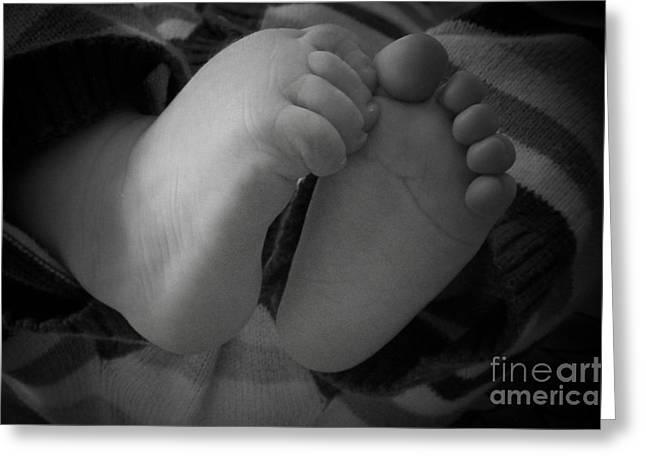 Baby Feet Greeting Card by Barbara Bardzik