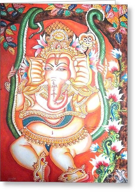 Baby Ganesha Swinging On A Snake Greeting Card by Jayashree
