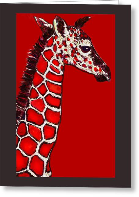 Baby Giraffe In Red Black And White Greeting Card