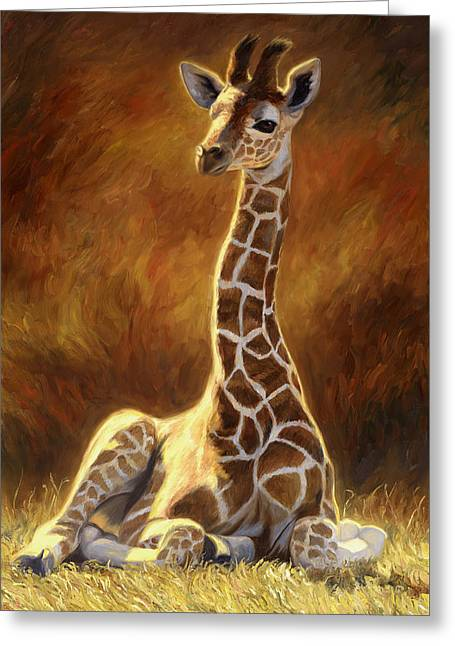 Baby Giraffe Greeting Card by Lucie Bilodeau