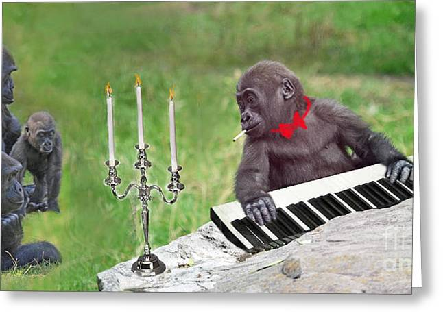 Baby Gorilla Concert In The Park Greeting Card by Jim Fitzpatrick