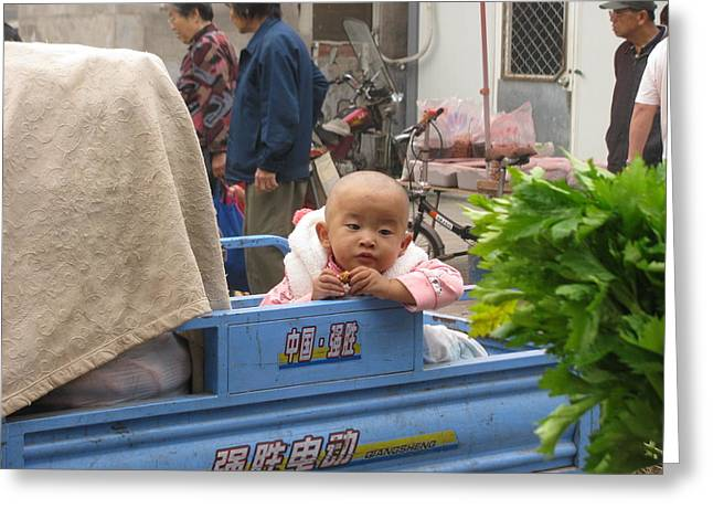 Baby In A Truck Greeting Card by Alfred Ng